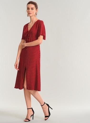 People By Fabrika Puantiyeli Elbise Kırmızı